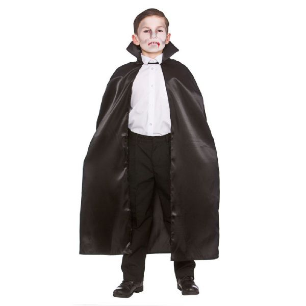 Childs Satin Cape With Collar - Black